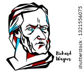 Richard Wagner engraved vector portrait with ink contours. German composer, theatre director, polemicist, and conductor who is chiefly known for his operas.