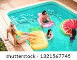 group of happy friends relaxing ... | Shutterstock . vector #1321567745