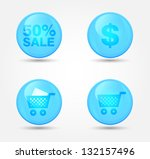 set of glossy shopping icons.... | Shutterstock .eps vector #132157496