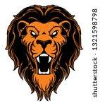 roaring lion head mascot. label.... | Shutterstock . vector #1321598798
