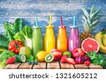 colorful freshly squeezed... | Shutterstock . vector #1321605212
