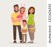 happy easter. cheerful family... | Shutterstock .eps vector #1321626332