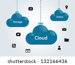 clouds for social networks on... | Shutterstock .eps vector #132166436