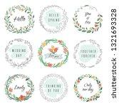 floral circle doodle frames.... | Shutterstock .eps vector #1321693328
