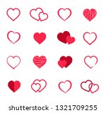 set vector  red heart icon ... | Shutterstock .eps vector #1321709255