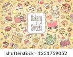 hand drawn set of sweet food...   Shutterstock .eps vector #1321759052