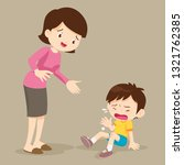 crying boy and her mom... | Shutterstock .eps vector #1321762385