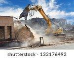 Bulldozer Crushing The Building ...