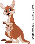 mother kangaroo with a baby in...   Shutterstock .eps vector #132177596