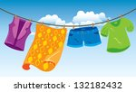 Stock vector clothes on washing line 132182432
