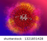 Stock vector colorful gulaal powder color indian festival for happy holi card with gold patterned and crystals 1321851428