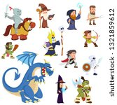 fantasy creatures and humans.... | Shutterstock .eps vector #1321859612