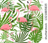 seamless  flamingo pattern with ... | Shutterstock .eps vector #1321885835