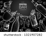 alcoholic cocktails hand drawn...   Shutterstock .eps vector #1321907282