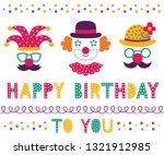 birthday vector set  clown... | Shutterstock .eps vector #1321912985