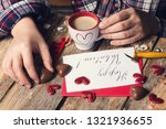 cup of coffee and chocolate... | Shutterstock . vector #1321936655