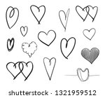 hand drawn grunge hearts on... | Shutterstock . vector #1321959512