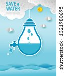 paper art of world water day ... | Shutterstock .eps vector #1321980695