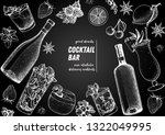 alcoholic cocktails hand drawn... | Shutterstock .eps vector #1322049995
