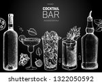 alcoholic cocktails hand drawn...   Shutterstock .eps vector #1322050592