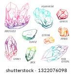 set of hand drawn semiprecious... | Shutterstock . vector #1322076098