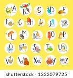 cute zoo alphabet with cartoon... | Shutterstock . vector #1322079725