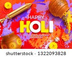 happy holi background with... | Shutterstock .eps vector #1322093828