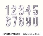 set of numbers 3d bold outline... | Shutterstock .eps vector #1322112518