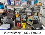 messy cluttered garage shelves...   Shutterstock . vector #1322158385