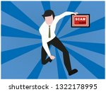 business man  running fast with ... | Shutterstock .eps vector #1322178995