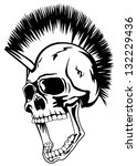 Vector image skull of the punk with mohawk on head