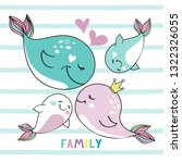 mother whale  father and... | Shutterstock .eps vector #1322326055