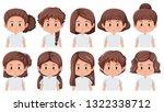 set of brunette girls faces... | Shutterstock .eps vector #1322338712