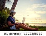 work and vacation. young man... | Shutterstock . vector #1322358392