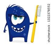 cartoon blue monster with... | Shutterstock .eps vector #1322378552