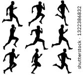 set of silhouettes. runners on... | Shutterstock . vector #1322386832