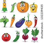 cartoon vegetables with emotions | Shutterstock .eps vector #132239435