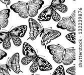 Stock vector beautiful seamless background of butterflies black and white colors many similarities to the 132239876