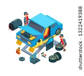 change car wheels. technicians...   Shutterstock .eps vector #1322419388