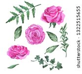 set of fresh pink rose flowers... | Shutterstock . vector #1322515655