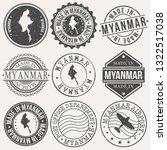 myanmar set of stamps. travel... | Shutterstock .eps vector #1322517038