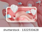 3d paper art of air white... | Shutterstock .eps vector #1322533628