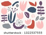 floral paper cut shapes in red  ... | Shutterstock .eps vector #1322537555