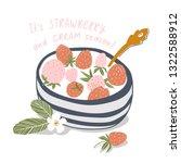 yogurt cream with fresh... | Shutterstock .eps vector #1322588912