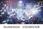 trading graph on the cityscape... | Shutterstock . vector #1322601428