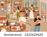 happy family cooking in kitchen ... | Shutterstock .eps vector #1322625635