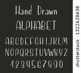 hand drawn font made by ink... | Shutterstock .eps vector #1322628638