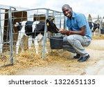 confident man feeding calves... | Shutterstock . vector #1322651135