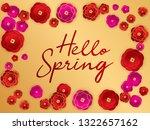 hello spring banner. red paper... | Shutterstock .eps vector #1322657162