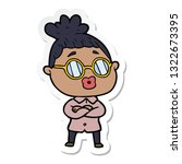 sticker of a cartoon woman...   Shutterstock .eps vector #1322673395
